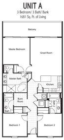 Floor Plan of 3 Bed/3 Bath Long Term Rental at Laketown Wharf
