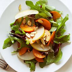 25 ways with pears | Asian Pear, Persimmon, and Almond Salad | Sunset.com #SunsetTurkeyDay
