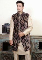 Beige Linen Readymade Kurta with Churidar and Jacket. Utsav Fashion.com - USD $331.00
