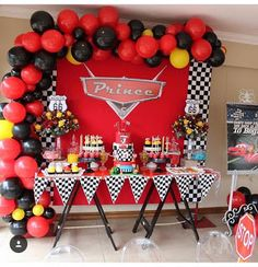 Cars Birthday Party Decorations IdeasYou can find Disney cars party and more on our website. Pixar Cars Birthday, Race Car Birthday, Race Car Party, 1st Boy Birthday, Birthday Ideas, Car Themed Parties, Cars Birthday Parties, Birthday Party Decorations, Car Themed Birthday Party