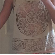 Laser Cut Anthropologie Top The front is a suede-like laser cut fabric and the back is solid, a soft cottony pink.  Best worn with a cami or bandeau. Great condition, no stains or tears.  Use the bundle feature to automatically receive my discount on bundles!  Reasonable offers only through the offer feature, please!  Prices on items $20 and under are non-negotiable. Anthropologie Tops