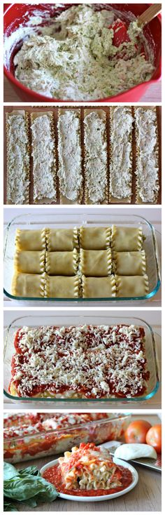 Chicken Pesto Lasagna Roll Ups - Comfort food in easy single serving form with a cheesy, creamy pesto filling!