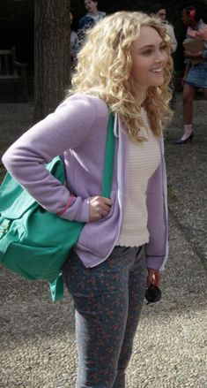 Carrie's blue and red floral jeans on The Carrie Diaries. Outfit details: http://wornontv.net/9820/