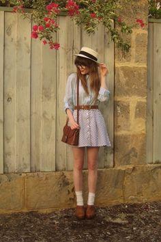 Hobbs clogs - Valleygirl skirt - thrifted bag - vintage belt - Sportsgirl hat