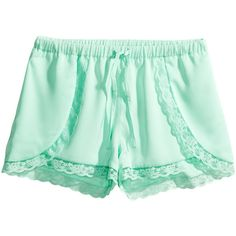H&M Satin shorts (22 BRL) ❤ liked on Polyvore featuring shorts, bottoms, h&m, pants, bottoms - shorts, light turquoise, lace trim shorts, h&m shorts, satin shorts and wrap shorts