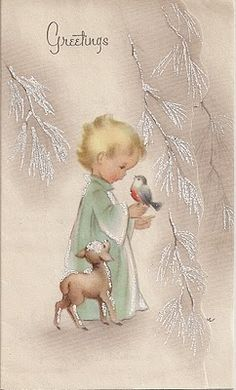 Free Printable Vintage Christmas Card - Child with Bird - from my personal collection