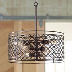 "Metal Lattice 6-Light 20 1/4"" Wide Bronze Pendant Light - Ceiling Pendant Fixtures - Amazon.com"