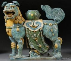 Roof Tile; Chinese Pottery, Ming Dynasty, Foo Dog, Fa Hua Glaze, 19 inch.