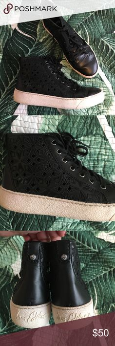 Sam Edelman cutout high tops Perfect summer boot. Very good used condition! Super cute design with the geometric cutouts! White rubber has some discoloring and toes have small scuffs and creases from being worn around. Heels have very slight wear. Black leather. Sam Edelman Shoes