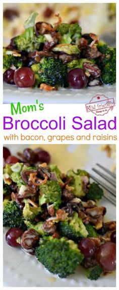 This Broccoli Salad is the kind of side dish that everyone looks for at a picnic or holiday meal. My mom used to make this Easy Broccoli Salad for family gatherings. It's made with raisins, grapes, and bacon - the ultimate broccoli salad. www.kidfriendlythingstodo.com #healthy #broccolisalad #easy #side #foracrowd #grapes #bacon #raisins