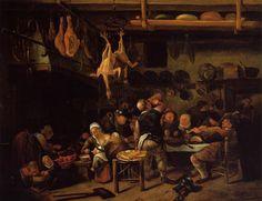 Jan Havickszoon Steen 'the fat kitchen'-oil on panel-ca 1650 Cheltenham (Glouchestershire) UK-Art Gallery and Museum