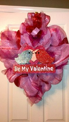 Custom Pink Heart Shaped  Valentine's Day Deco Mesh by MisSuenos, $35.00