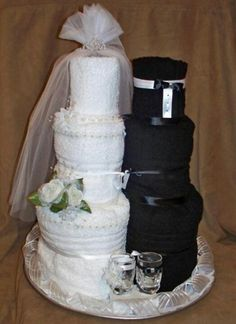 Bride and groom towel cake