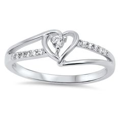 Sterling Silver Heart Cut Out CZ Ring Sz 4-10 104934123456