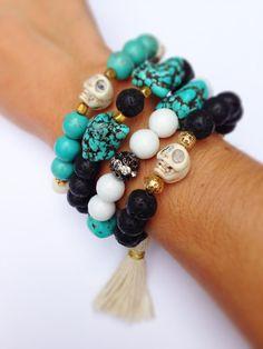 Tassel Bracelet, Stackable Bracelet, Skull Bracelet with Black Lava beads, gold…