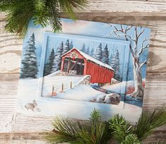Covered Bridge by Barb Halvorson. Exclusive Free Downloadable painting pattern and wood surface available at www.ArtistsClub.com
