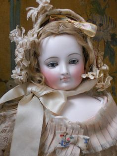 >~~~French Expressive Face Bisque Poupee with Wonderful Gown Exceptinally And Fully Perfect Unmark Beauty With Superb Costume ...... France Circa 1865/68
