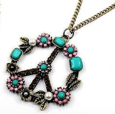 12pcs Free Shipping Fashion Necklace Peace Sign Pendants Retro Color Beads Peace Symbol Necklace