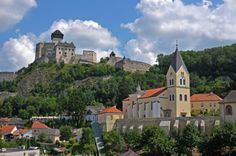 Trencin developes on the banks of the river, climbing up towards the promontory overlooking the town, and on top of which there is the third largest castle of Slovakia, the Trencin Castle. Bratislava, Climbing, Castle, Europe, River, Mansions, House Styles, City, Banks