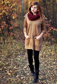 Burgundy Scarf, Long Sweater, Leggings, & Boots