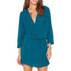trendsgal.com - Trendsgal V Neck 3 4 Sleeve Waisted Solid Color Chiffon Dress - AdoreWe.com