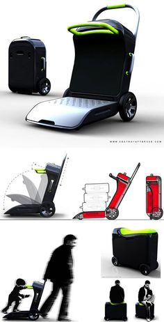 Move On travel suitcase by Agent turns into a scooter, stroller and luggage cart Travel Luggage, Luggage Bags, Travel Bags, Luggage Shop, Pink Luggage, Travel Items, Best Suitcases, E Scooter, Carry On Suitcase