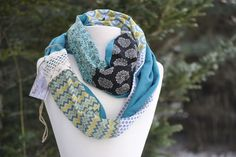 patchwork infinity scarf with lace-2 color options – Burlychic.com