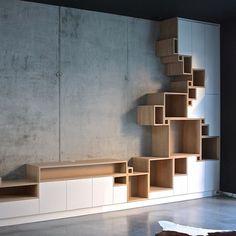Modular system furniture design by Filip Janssens. System Furniture, Cool Furniture, Modern Furniture, Furniture Design, Furniture Plans, Muebles Living, Interior Architecture, Interior Design, Diy Design
