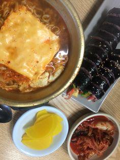 치즈라면과 김밥