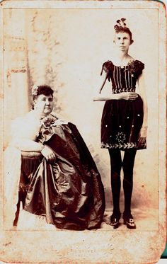 """Freakshow from 1800. Carrie Rhoda """"the thinner girl on Earth"""" and her sister """"the most fat woman of all""""."""