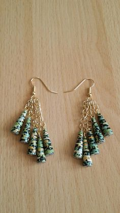 Jewelry Making Leather Cone paper bead earrings by MagdaCrafts on Etsy, Paper Quilling Jewelry, Paper Bead Jewelry, Paper Earrings, Bead Jewellery, Fabric Jewelry, Bead Earrings, Small Earrings, Jewellery Shops, Paper Beads Tutorial