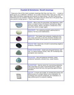 Healing Crystals Gemstone and Their Meaning | Crystals _ Gemstones- Occult meanings