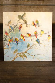 The whimsey of colorful birds yields happy art. Proportionately sized for over a sofa or large scaled wall. This cheerful painting can easily compliment a color