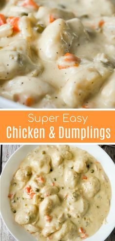comfort food Easy Chicken and Dumplings with Biscuits is a simple weeknight dinner recipe using rotisserie chicken and Pillsbury refrigerated biscuits. These creamy chicken and dumplings are a hearty comfort food dish perfect for cold weather. Fall Dinner Recipes, Fall Recipes, Soup Recipes, Winter Dinner Ideas, Pumpkin Recipes, Kraft Recipes, Simple Easy Dinner Recipes, Casserole Recipes, Yummy Dinner Ideas