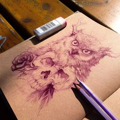 Sketchbook: Owl and Skull by ilias constantine patlis > Awesome skills Owl Skull Tattoos, Skeleton Tattoos, Wolf Tattoos, Fish Tattoos, Tatoos, Owl Skeleton, Circle Tattoos, Wolf Tattoo Design, Geometric Tattoo Arm