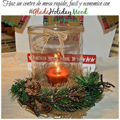 Haz un centro de mesa facil, economico y rapido con velas de Glade #GladeHolidayMood #Ad
