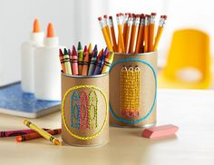 Organize your supplies with these crafty cans! Michaels lesson and template provided -FREE