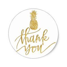 golden pineapple thank you classic round sticker