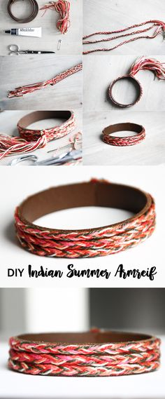 DIY Indian Summer Armreif Schereleimpapier: DIY Indian Summer Bangle with Leather Diy Jewelry Unique, Diy Jewelry To Sell, Diy Jewelry Holder, Diy Jewelry Projects, Diy Jewelry Tutorials, Diy Jewelry Making, Boho Jewelry, Jewelry Crafts, Art Projects