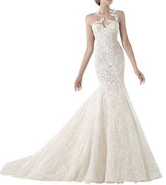 DAPENE® Women Sheer Lace Flower Mermaid Sweep Custom Size Wedding Dress, http://www.amazon.com/dp/B00NIDSY68/ref=cm_sw_r_pi_awdm_5wuevb1KNQ8PD