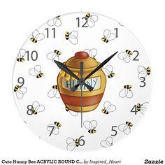 Cute Hunny Bee ACRYLIC ROUND CLOCK