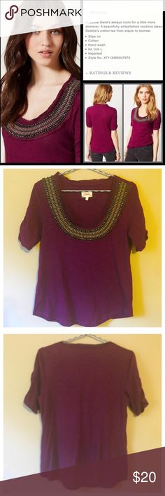 Anthropologie Deletta Jewelscape Tee --- Small Anthropologie Deletta Jewelscape Tee --- Small --- good preloved condition --- gently worn --- relaxed fit --- ruched sleeves --- beading and jewels in perfect condition --- thank you for visiting my boutique, please feel free to ask any questions Anthropologie Tops