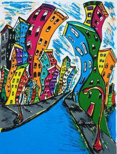 """Rhythmo del pueblo"" by Bernice Montgomery. Screen print, 2000. #Latino #art #serigraphy"