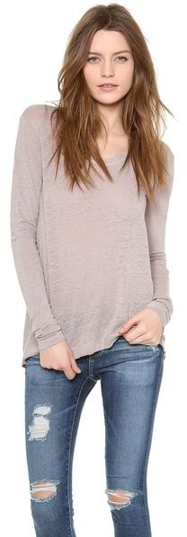 Wilt Easy Raw T-Shirt with Long Sleeves - women's fashion (stone slubbed jersey clothing apparel)