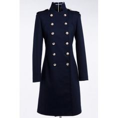 $44.86 Fashionable Stand-Up Collar Double Breasted Solid Color Long Sleeve Coat For Women