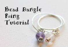 DIY Beaded Wire Ring Tutorial - includes videos on making a knotted headpin and how to wire wrap a beaded dangle!