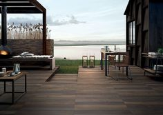 Restyle Outdoor Porcelain Wood Effect - BEIGE - Cheshire Sandstone Exterior Design, Interior And Exterior, Wood Effect Porcelain Tiles, Outdoor Furniture Sets, Outdoor Decor, Outdoor Ideas, Color Shades, Three Dimensional, Wall Tiles