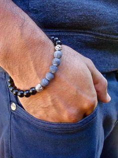 Men's Spiritual Healing, Love Protection Bracelet with Semi Precious Blue Matte Agates, Black Jasper, Bali beads - Classy Man Bracelet High Fashion Men, Mens Fashion, Agate, Beaded Jewelry, Beaded Bracelets, Necklaces, Diy For Men, Classy Men, Metal Beads
