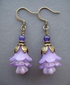 Purple Flower Earrings - Radiant Orchid Earrings - Beaded Flower Earrings - Purple Jewelry - Romantic Earrings - Botanical Earrings - Drop