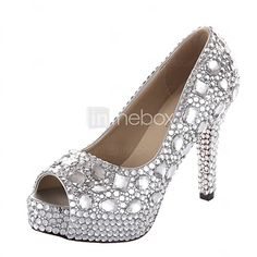 Women's Shoes VELCANS Platform Peep Toe Stiletto Heel Pumps with Rhinestone Wedding Shoes - USD $59.99